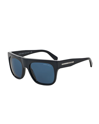 Full-Rim Square Acetate Sunglasses, Black/Blue