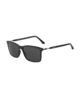 Full-Rim Square Sunglasses with Titanium, Matte Black
