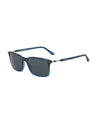 Full-Rim Square Sunglasses with Titanium, Blue Havana