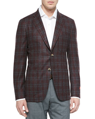 Wool Plaid Sport Coat, Gray/Red