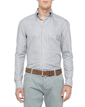 Check Cotton Shirt, Gray/Aqua