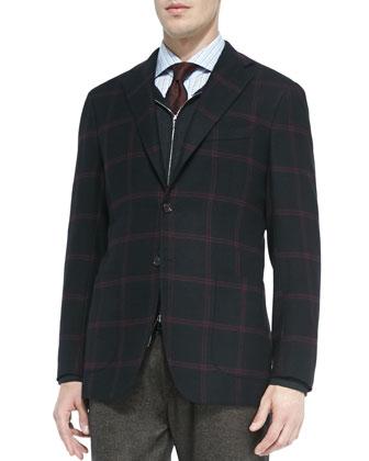 Three-Button Windowpane Jacket, Black/Burgundy