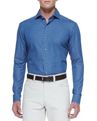 Circle-Print Long-Sleeve Shirt, Denim