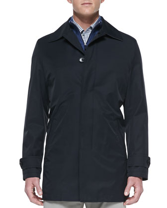 Microfiber City Coat, Navy