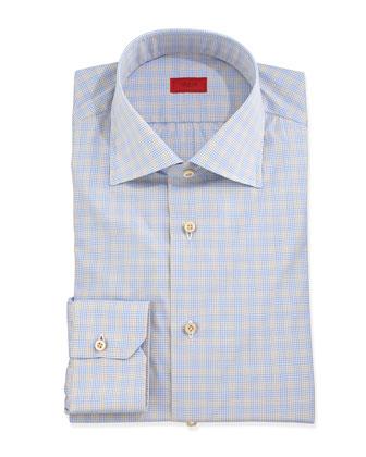 Micro-Check Dress Shirt, Blue/Tan