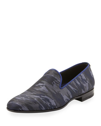 Camo-Print Venetian Loafer, Blue