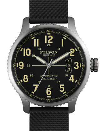 Mackinaw Field 43mm Watch with Rubber Strap, Black