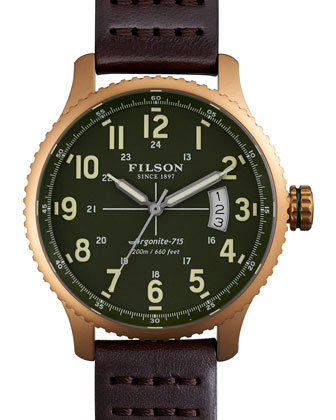 43mm Mackinaw Field Brass Watch with Leather Strap, Brown/Green