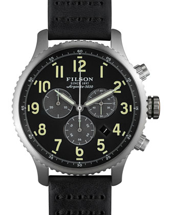 43mm Mackinaw Field Chrono Watch with Leather Strap, Black
