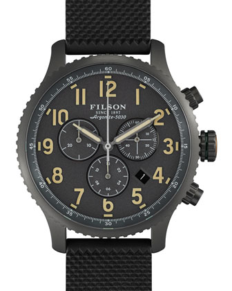 43mm Mackinaw Field Chrono Watch with Rubber Strap, Black/Gray
