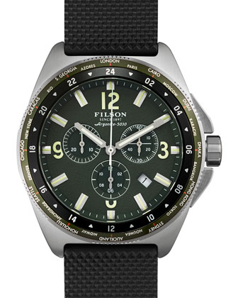 44mm Journeyman Chrono Watch with Rubber Strap, Black/Green