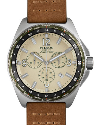 44mm Journeyman Chrono Watch with Leather Strap, Brown/Cream
