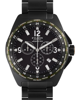 44mm Journeyman Chrono Watch with Link Bracelet, Black