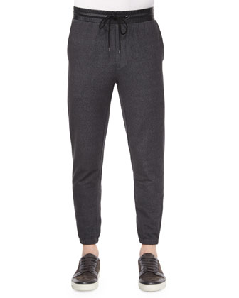 Denim Jogger Pants with Leather Waist, Black