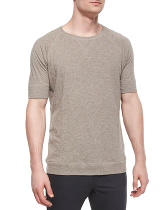 Slub-Knit Crewneck Tee, Tan