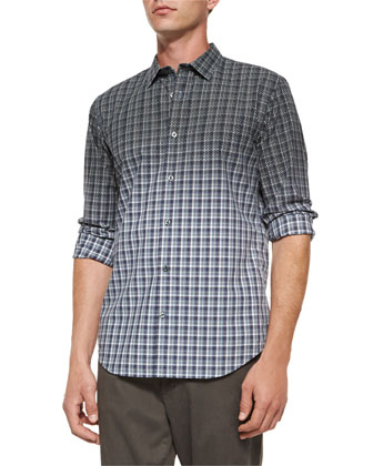 Multi-Plaid Woven Degrade Shirt, Blue Multi