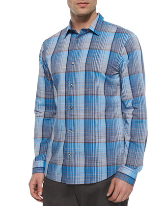 Melrose Plaid Long-Sleeve Shirt, Blue