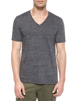 Jasper Short-Sleeve V-Neck Tee, Black