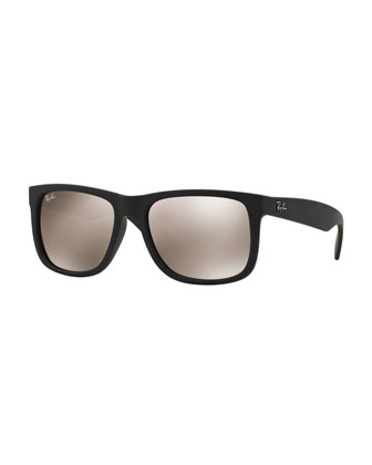 Flat-Top Sunglasses with Mirror Lenses, Brown/Gold