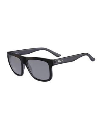 Flat-Top Plastic Sunglasses, Gray/Black