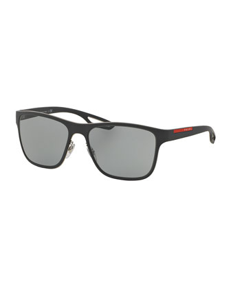 Rectangular Plastic Sunglasses, Gray