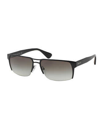 Wire-Rim Rectangular Sunglasses, Black