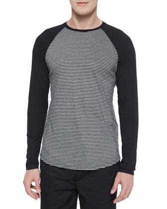 Feeder-Stripe Long-Sleeve Baseball Tee, Gray/Black