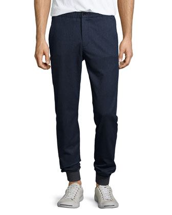 Stretch Jogger Pants with Ribbed Cuffs, Navy