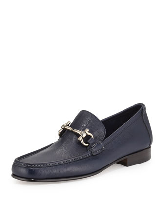 Pebbled Leather Gancini Strap Loafer, Blue Marine