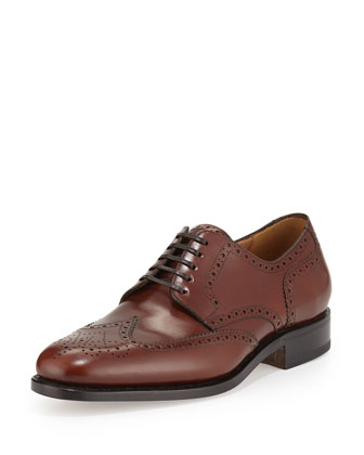 Leather Wing-Tip Brogue Oxford, Brown