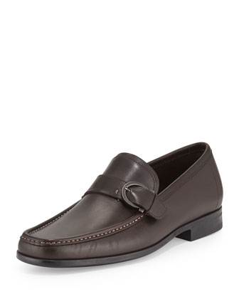 Leather Gancini Strap Loafer, Brown