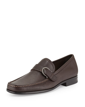 Navarro Textured Calfskin Side Gancio Loafer, Brown