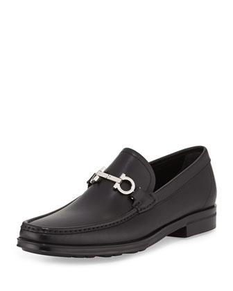 Gancini Bit Leather Loafer, Black