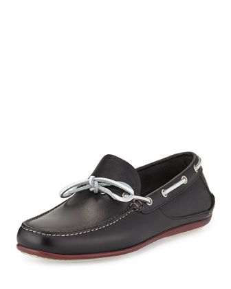 Leather Slip-On Boat Shoe, Black