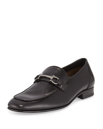 Double-Gancini Bit Leather Loafer, Black