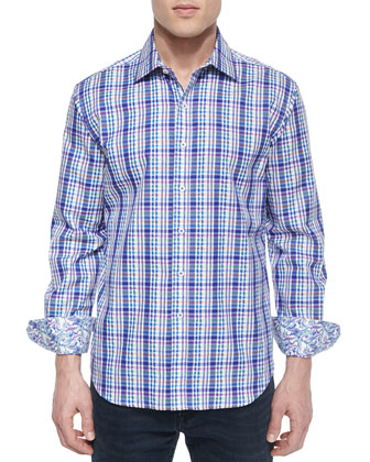Bowfin Multi-Gingham Sport Shirt, Navy