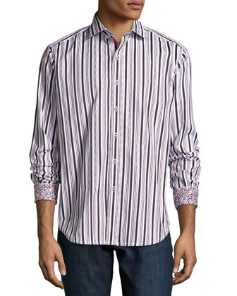 Multi-Striped Woven Sport Shirt, Red