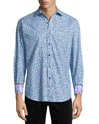 Beachpoppy Floral-Print Sport Shirt, Blue