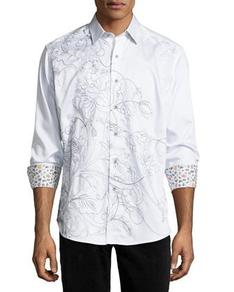 Coconut Island Embroidered Sport Shirt, White