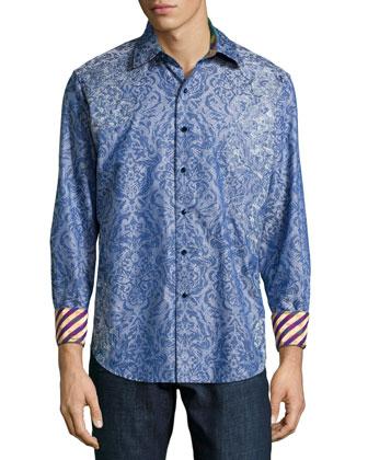 Tonal Floral-Print Sport Shirt, Blue