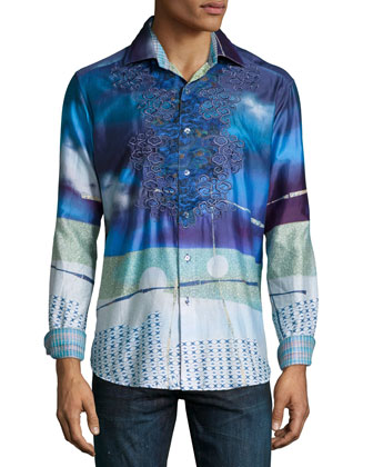 Limited Edition Multi-Abstract Print Sport Shirt, Blue