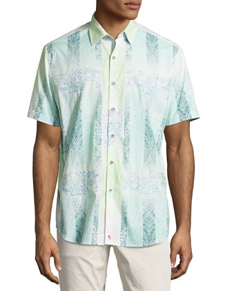 Kona Embroidered Multi-Print Sport Shirt, Multi