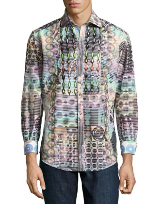 Raimondo Multi-Patterned Sport Shirt, Multi