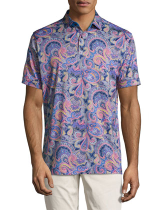 Taboo Multi-Floral Print Polo Shirt, Multi