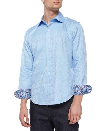 Salisbury Tonal-Paisley Sport Shirt, Light Blue