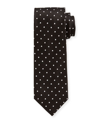 Mini-Dot Silk Tie, Black