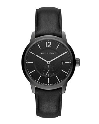 40mm Classic Round Watch with Leather Strap, Black