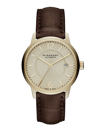 Automatic Round Watch with Alligator Strap