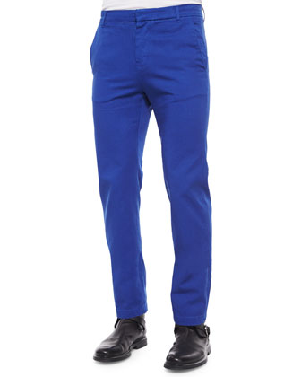 Solid Chino Pants, Cobalt