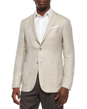 Two-Button Blend-Linen Blazer, Tan